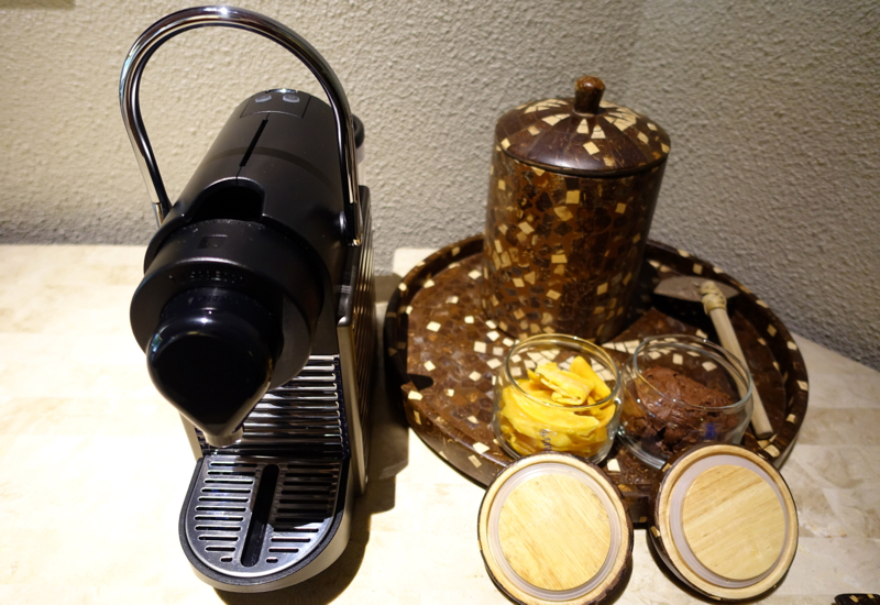 Nespresso Machine, Dried Mango and Chocolate Cookies, Amanpulo