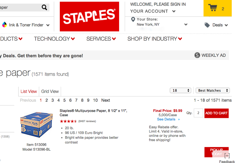 Read More + Read Less - Staples is the world's largest office products company offering great deals on office supplies, printer ink, toner, computers, printers and office furniture.