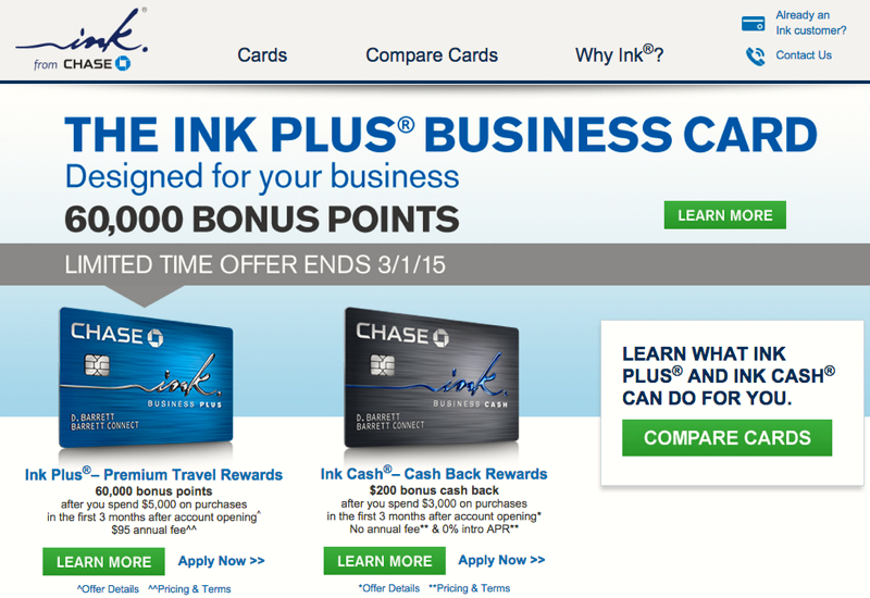 60K Ink Plus Business Card Bonus fer