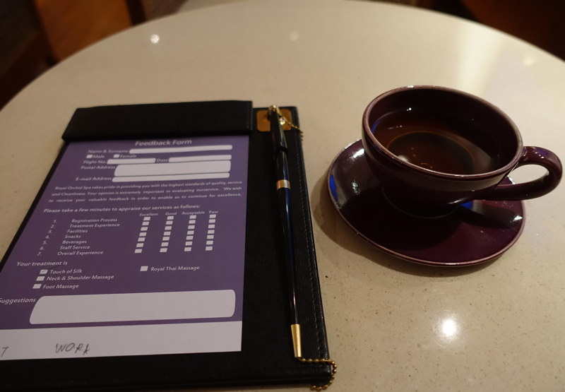 Thai Royal Orchid Spa Review-Tea and Feedback Form
