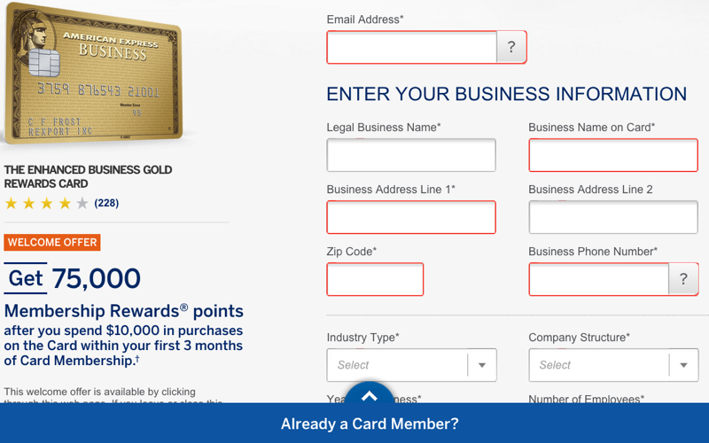 75K AMEX Business Gold Rewards and 75K AMEX Business