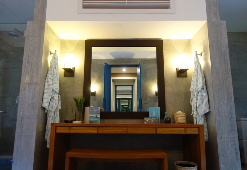 Four Seasons Maldives Landaa Giraavaru Review-Beach Bungalow Bathroom Vanity