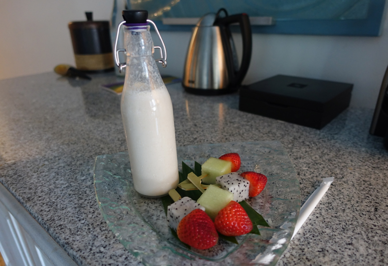 Four Seasons Maldives at Landaa Giraavaru Review-Kid's Smoothie and Fruit Welcome Amenity
