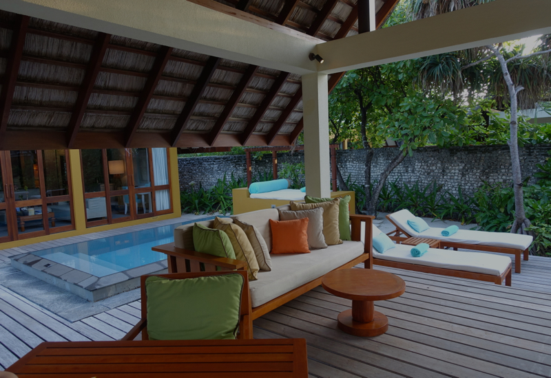 Beach Bungalow Outdoor Bale and Loungers, Four Seasons Maldives at Landaa Giraavaru