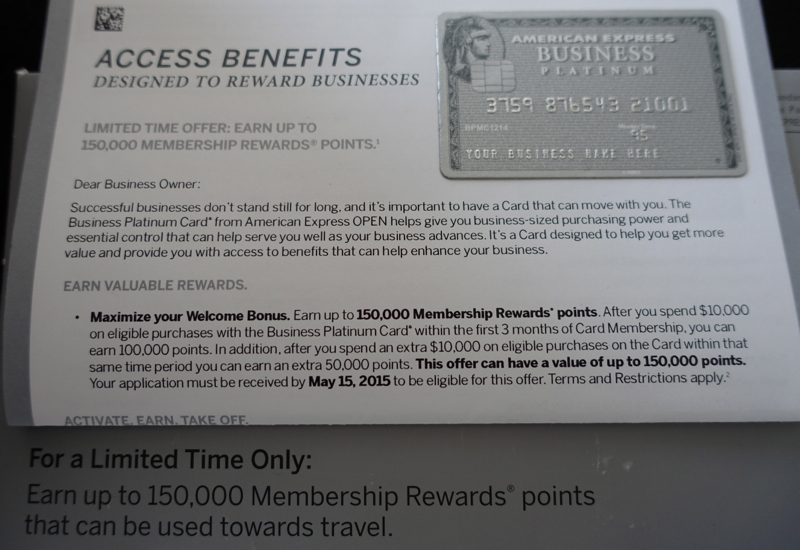 150K AMEX Business Platinum Card Bonus Offer
