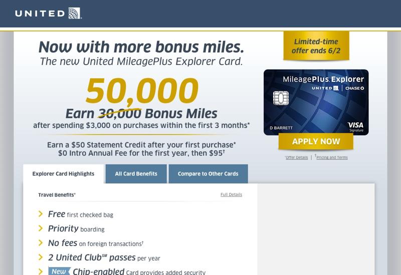 55K United MileagePlus Explorer Signup Bonus fer with