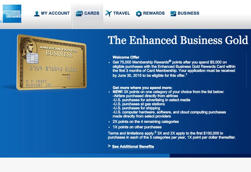 75K AMEX Business Gold Rewards Card Bonus fer Tar ed