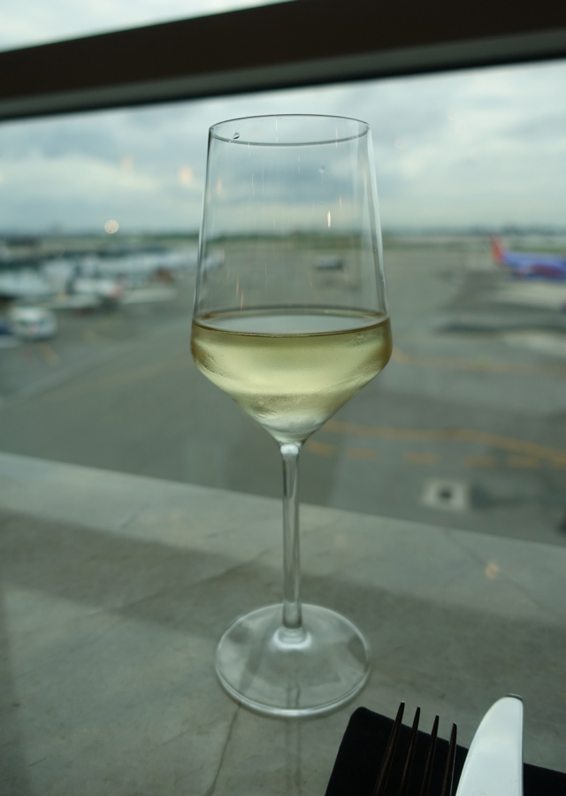 Pinot Grigio and View of Tarmac, AMEX Centurion Lounge New York LGA