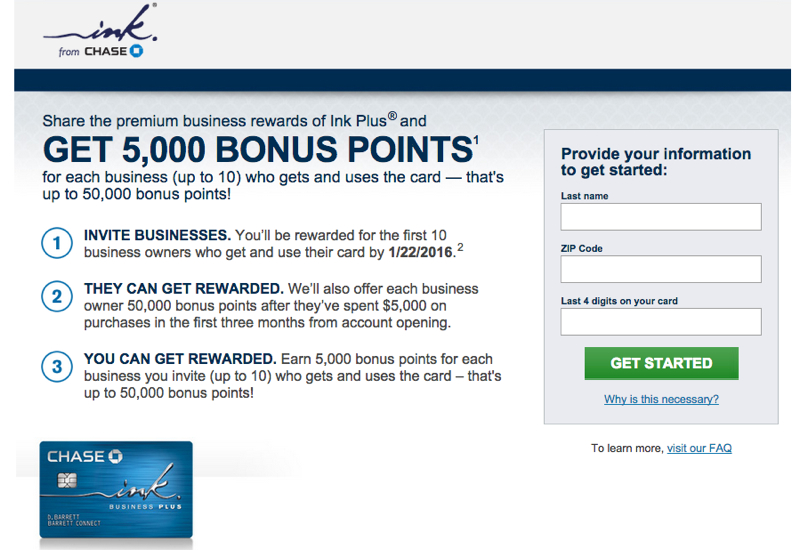 Chase Refer a Friend 2015: Ink Plus Bonus Offer