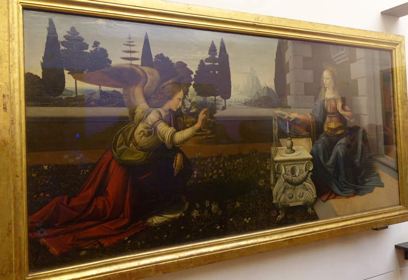 The Annunciation by Leonardo da Vinci, Uffizi, Florence