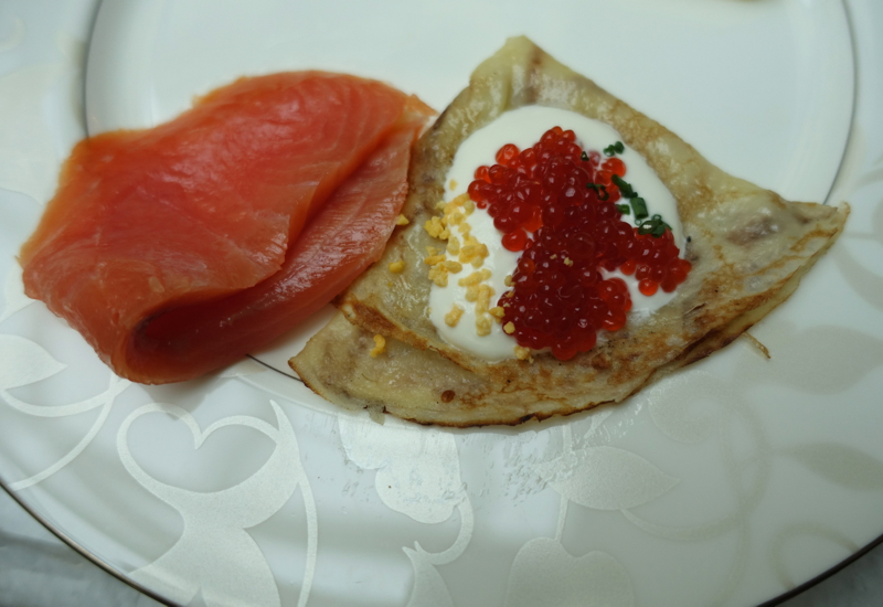 ... blini with caviar and smoked salmon--better than the version at the