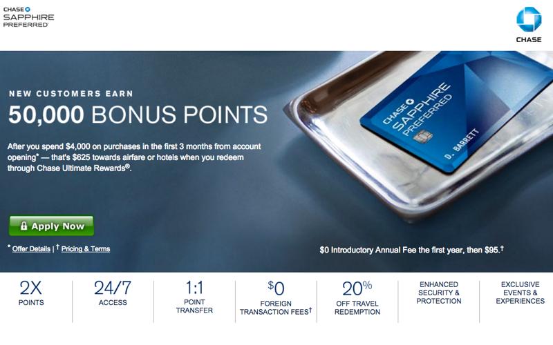 55K Chase Sapphire Preferred Bonus Offer