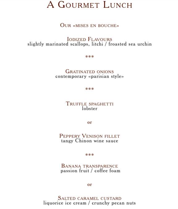 Le George V Paris Restaurant Menu