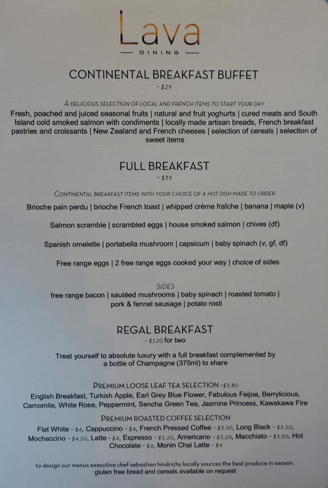 Sofitel Auckland Breakfast Buffet Menu