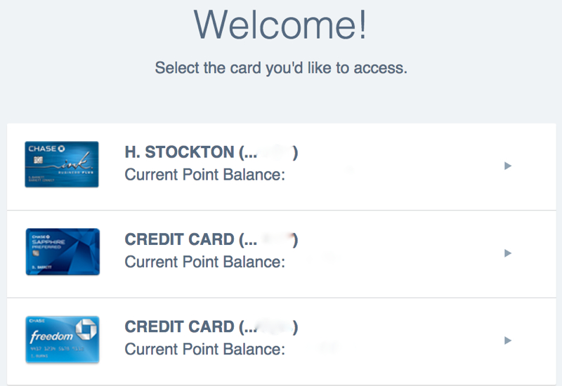 Select Chase Card to View Its Ultimate Rewards Points Balance