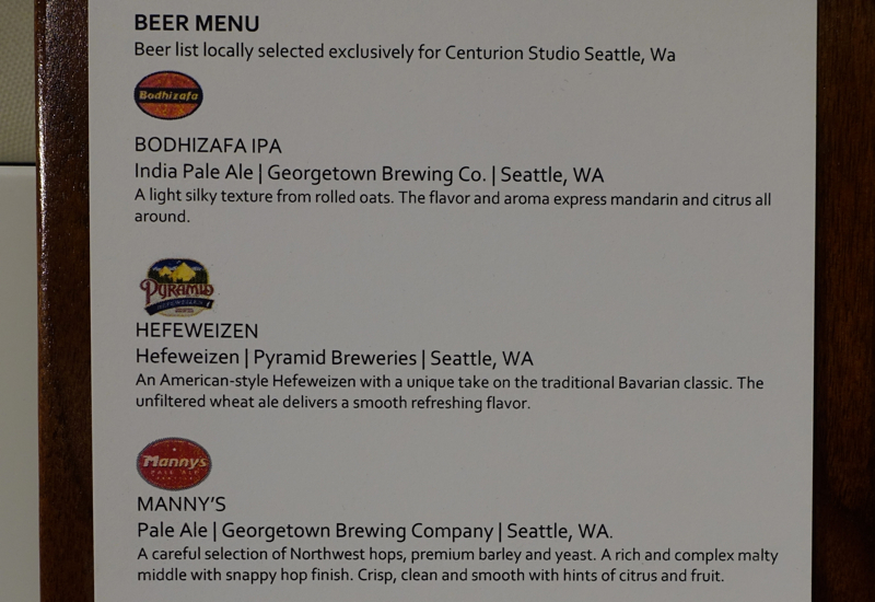 Local Beer Menu, AMEX Centurion Studio Seattle Review