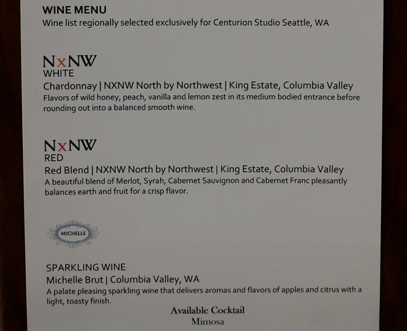 Wine List, AMEX Centurion Studio Seattle Lounge