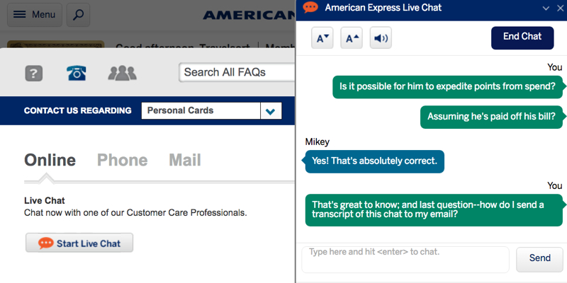 chat with american express