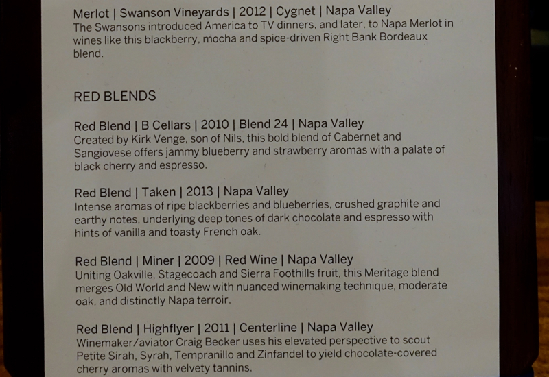Red Wine List, AMEX Centurion Lounge SFO Review