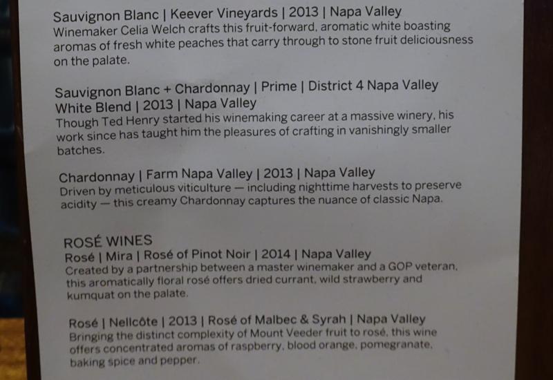 White Wine List, AMEX Centurion Lounge San Francisco Review