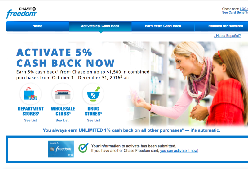 Activate Chase Freedom 5X for Drug Stores, Wholesale Clubs and Department Stores