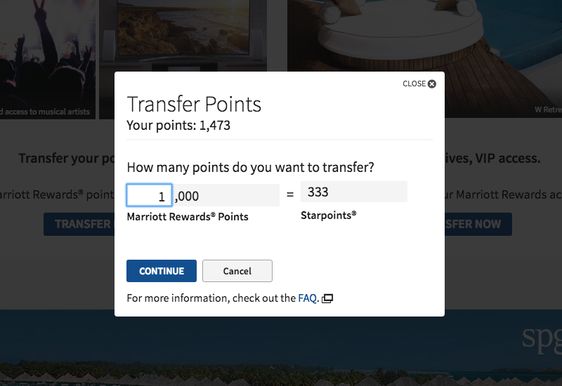 Transfer 1000 Marriott Rewards Points to 333 Starpoints