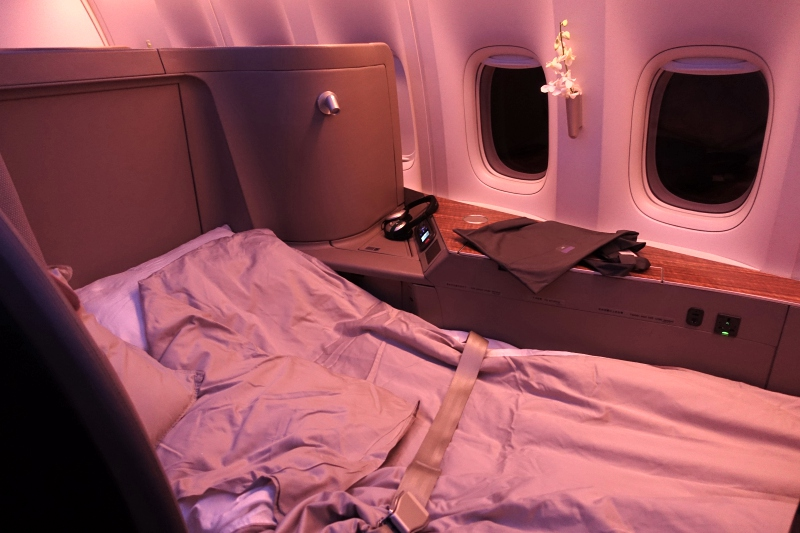 Cathay Pacific First Class Review: Flat Bed After Turndown Service