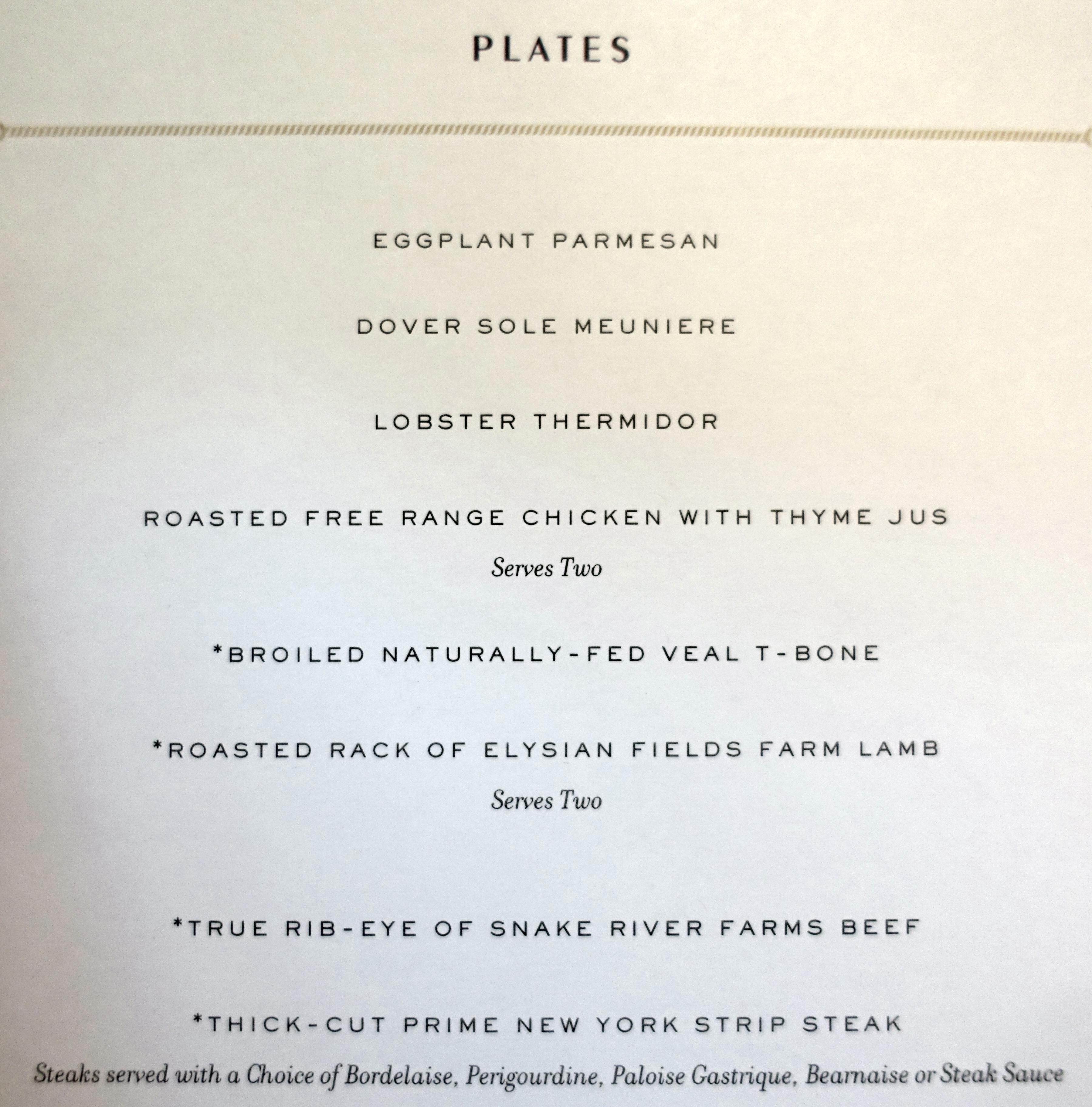 Dinner Menu, The Grill by Thomas Keller