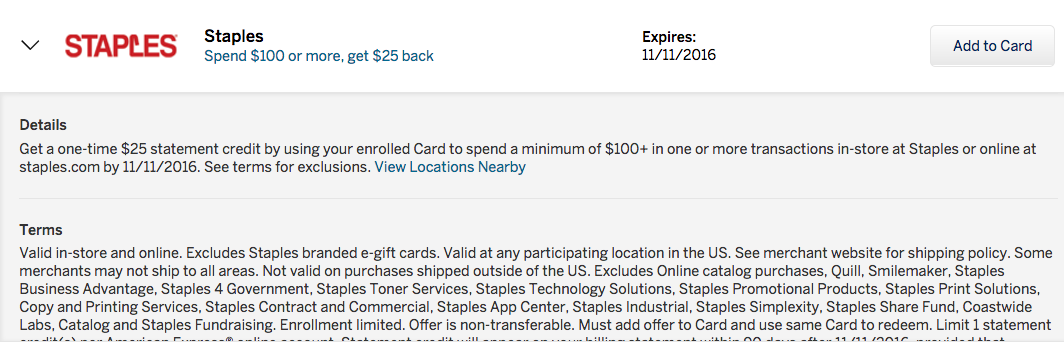 AMEX Offer for Staples: Spend $100 or More, Get $25 Back