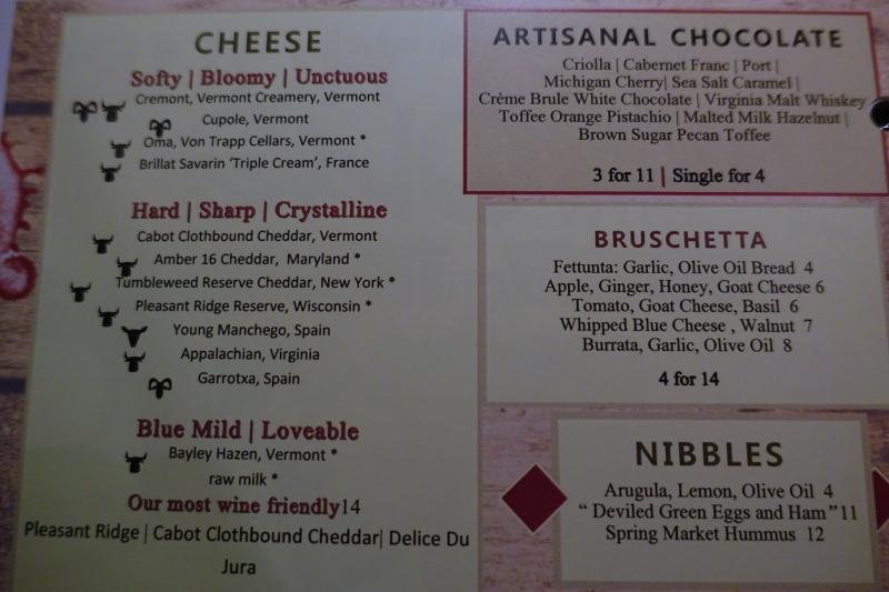 Cheese Choices, ENO Wine Bar, Four Seasons Washington, DC