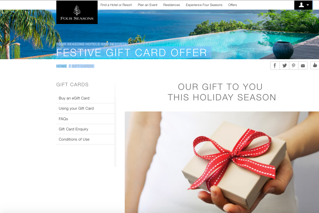 Four Seasons Deal: Buy Gift Cards with 20% Bonus