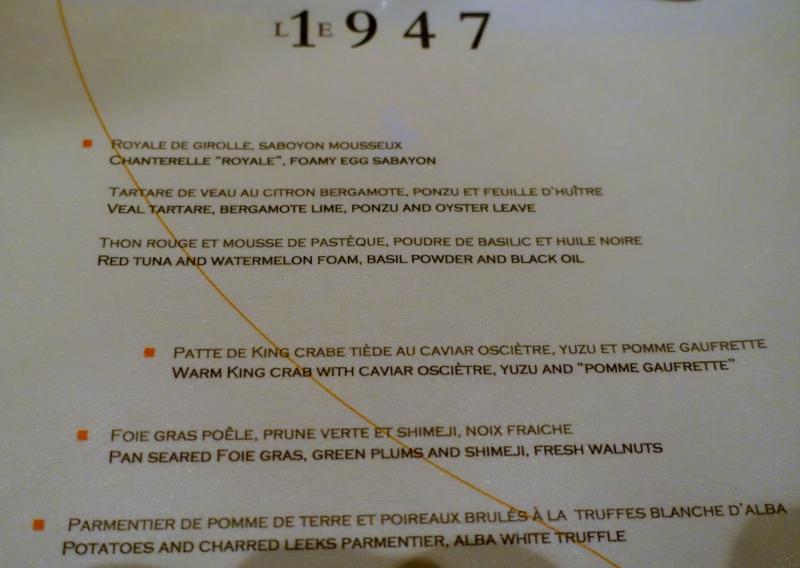 Le 1947 Menu, Cheval Blanc Randheli Review