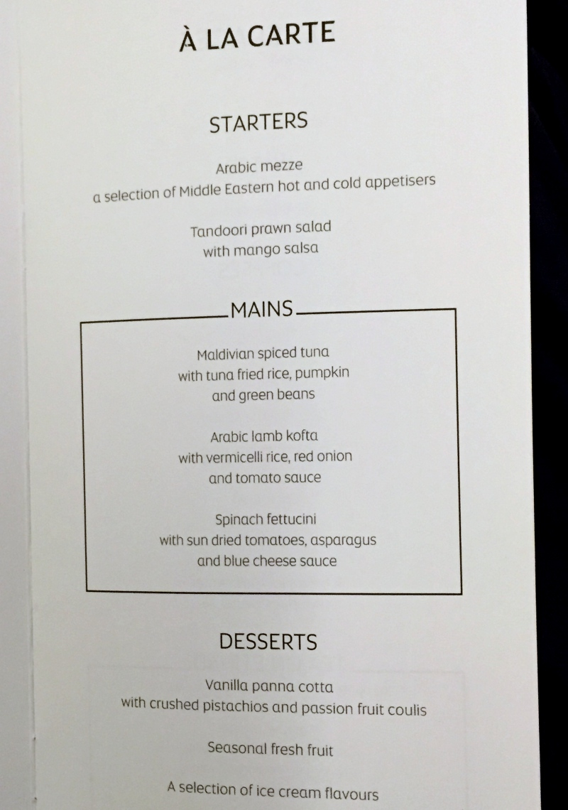 Etihad Business Class Dinner Menu, Male to Abu Dhabi