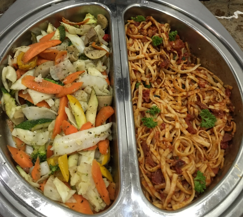 Vegetables and Pasta, Male Business Class Lounge Review