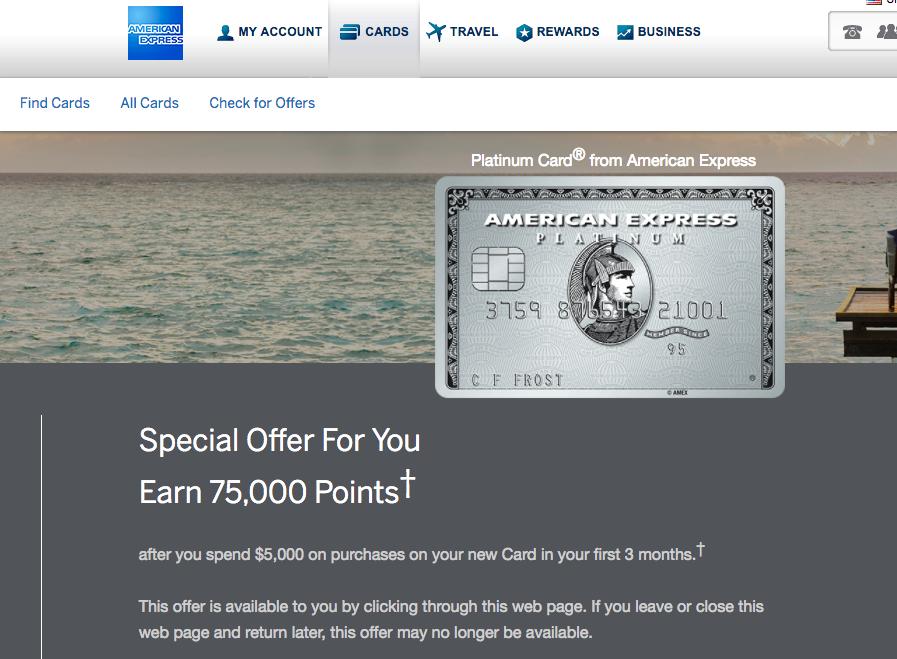 75K AMEX Platinum Bonus Offer