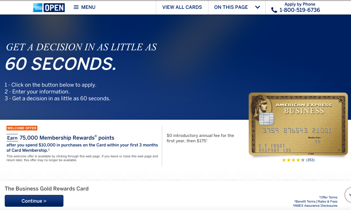 75K AMEX Business Gold Rewards Card Bonus Offer