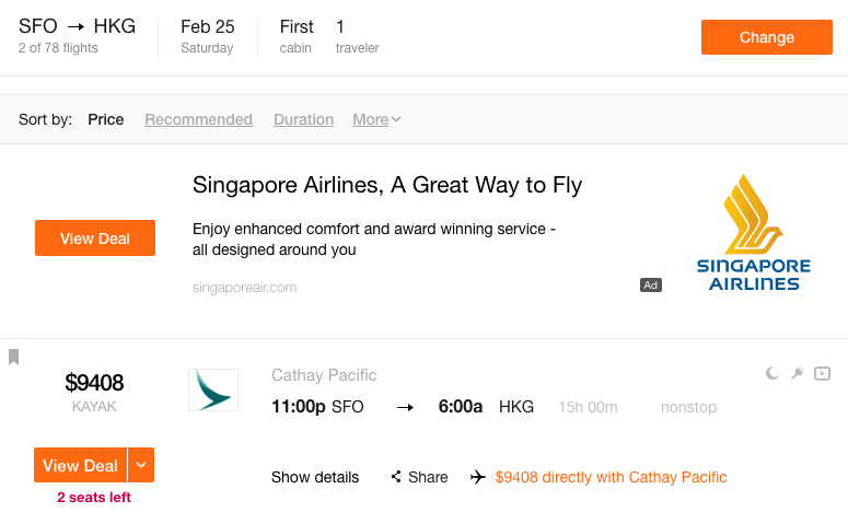 Cathay Pacific First Class: 2 Seats for Sale...