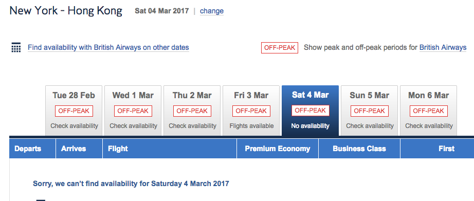 No Cathay Pacific First Class Award Space on Same Date with Partner Miles