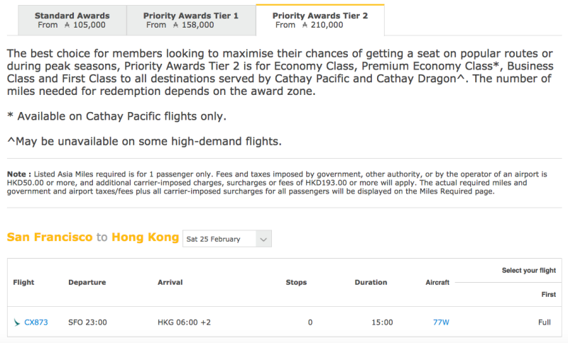 No Award Seat Even with Cathay Asia Miles Priority Awards Tier 2