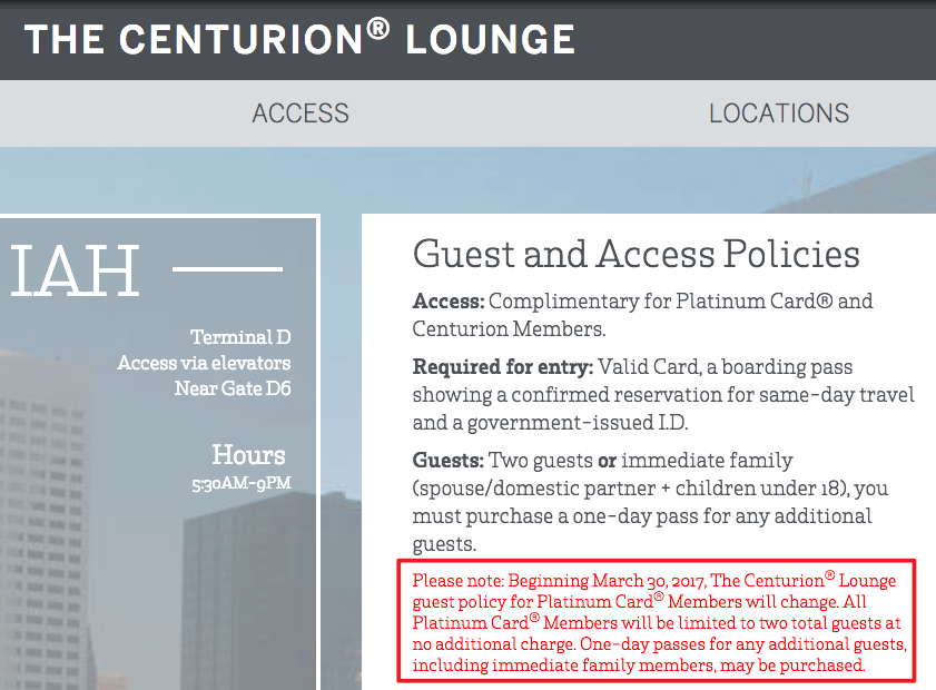 AMEX Centurion Lounge New Platinum Guest Policy: Only 2 Free Family Members