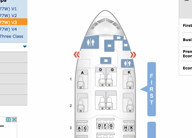 ANA First Class Seat Map