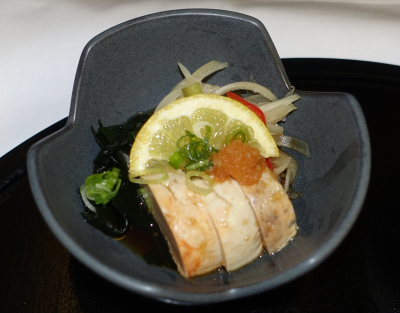 Steamed Monkfish Liver, ANA First Class Review