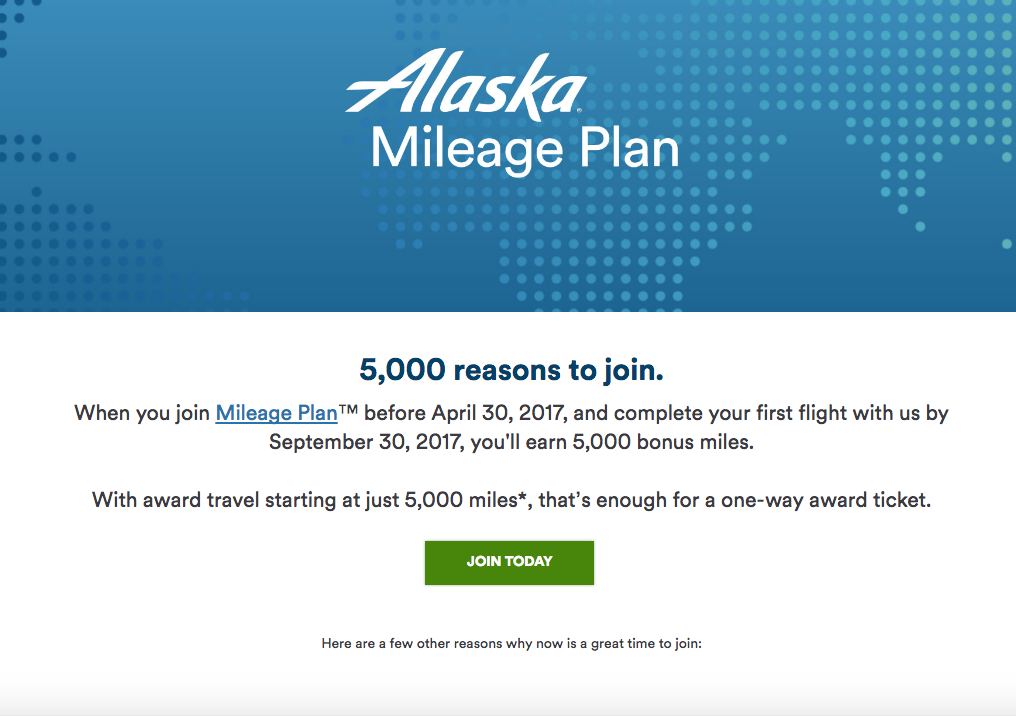 5000 Bonus Alaska Mileage Plan Miles for New Members