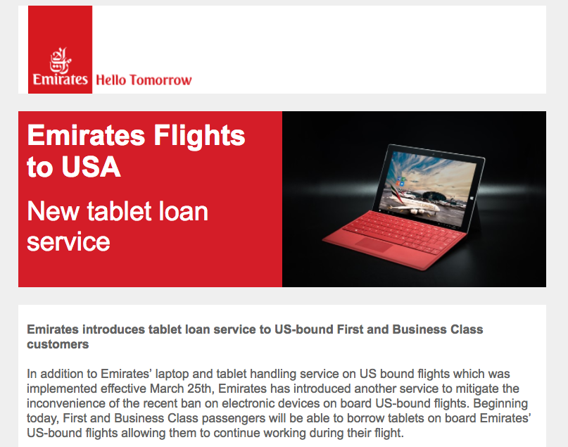 Emirates: Tablet Loan Service for US Bound First Class and Business Class Passengers