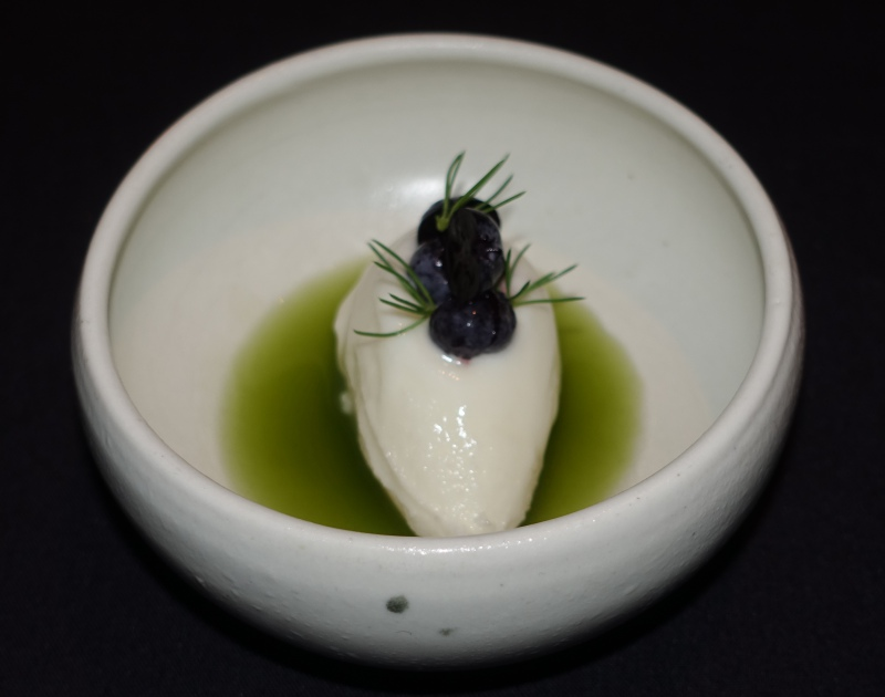 Raw Milk Sorbet with Blueberries and Spruce, Aska Review