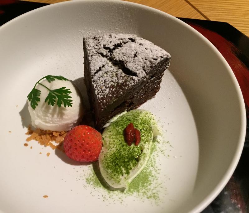 Chocolate Cake with Matcha Cream, Amanemu