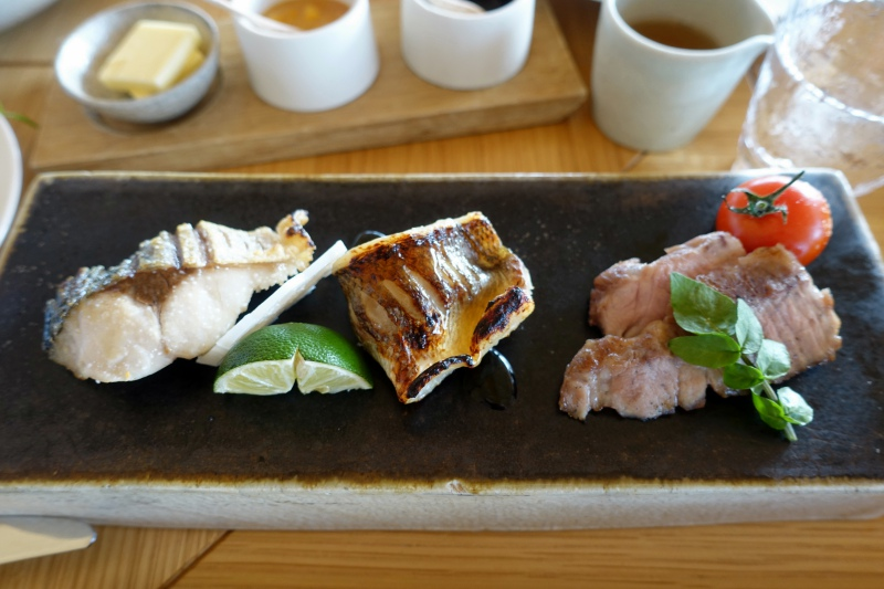 Amanemu Japanese Breakfast: Broiled Fish and Pork