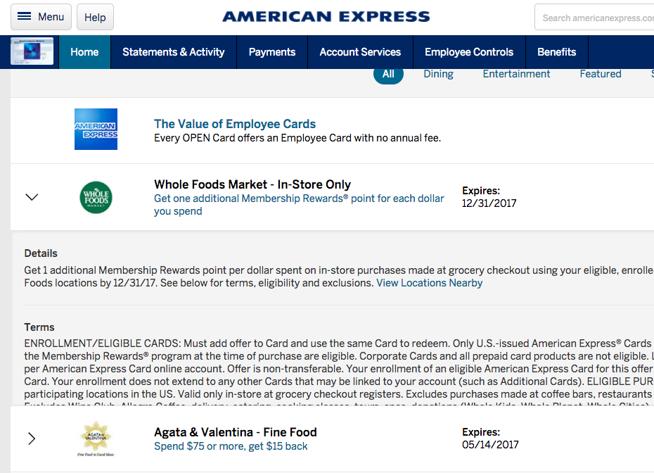 AMEX Offers: AMEX Travel, Whole Foods, Levi's, Hugo Boss