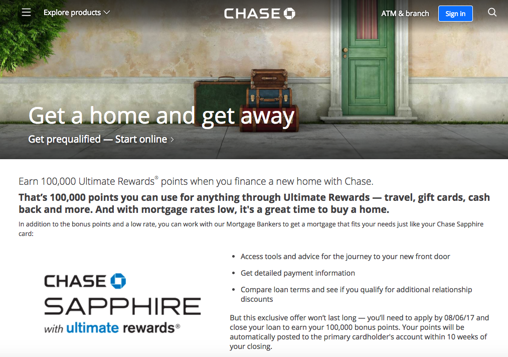 100K Ultimate Rewards Points for a Chase Mortgage