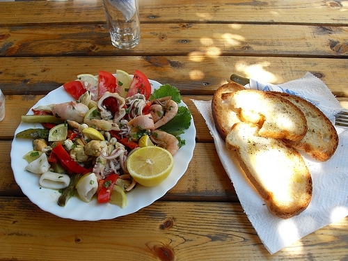 Seafood lunch in Sarande, Albania